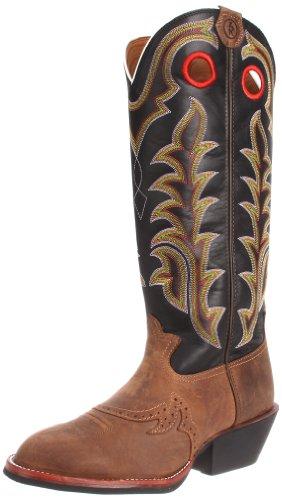 Tony Lama Men's RR1002 Boot,Tan Crazy Horse/Black Baron Calf,10.5 EE US