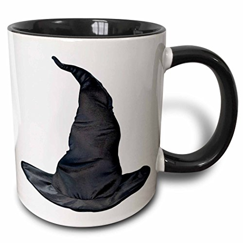 3dRose 3dRose Halloween Witches Black Hat - Two Tone Black Mug, 11oz (mug_131390_4), , Black/White (This Is Halloween Pics)