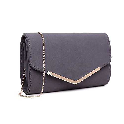 Faux Style Grey Quality Evening Wedding Leather Ladies Bag Occasion Envelope Clutch FPI5nwFSq