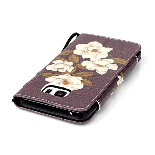 Samsung Galaxy Note 5 Elegante Colorido Wallet Funda[con HD Pantalla Protector],Carcasa Libro PU Premium Choque Absorción Leather Cuero Impresión - KaseHome Flip Case Cover Con TPU Goma Flexible,Fuert flores hermosas