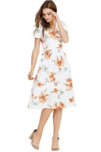 Cute Midi Dress (White w/Tangerine & Blue Floral, Small)