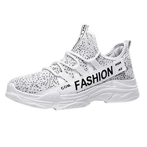 Men's Breathable Knit Sneakers - Stylish Athletic-Inspired Walking Shoes Outdoors Summer Running Trainning Tennis Shoe (White, US:5.5) by Cealu