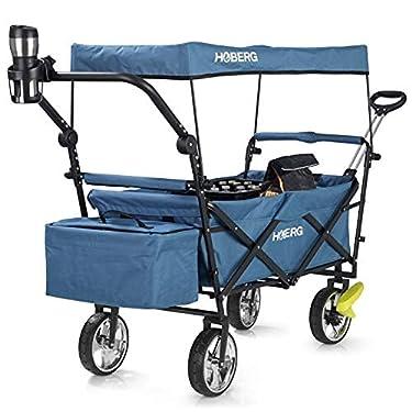 Hoberg-Carro-de-Mano-Premium-Plegable-Incl-Techo-LSF30-Soporte-para-Bebidas-Bolsa-de-frio-Frenos-Carro-de-Mano-Carro-de-Transporte-80kg-de-Capacidad-de-Carga-Azul