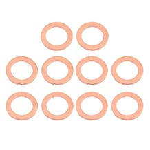 uxcell® 10pcs 24mm x 18mm x 2mm Flat Ring Copper Crush Washer Sealing Gasket Fastener