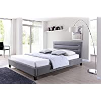 Baxton Studio Hillary Fabric Upholstered Platform Bed, Queen, Grey