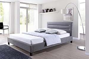 Baxton Studio Hillary Fabric Upholstered Platform Bed, Queen, Grey
