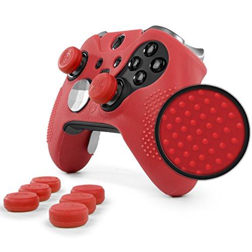ElitePro Grip STUDDED Skin Set for Xbox One ELITE Controller by Foamy Lizard ® Sweat Free Silicone Skin w/ Raised Anti-slip Studs PLUS set of 8 QSX-Elite Thumb Grips (SKIN + QSX-E GRIPS, RED) ()