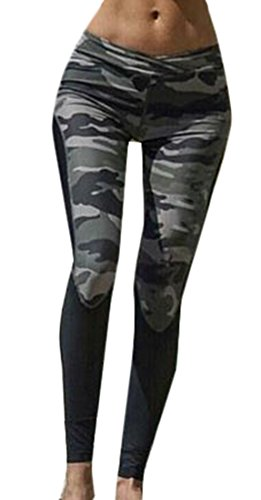 ARRIVE GUIDE Womens Summer Splice Camo Skinny Fitness Sport Leggings Green (Ripped Up Shirt Halloween)