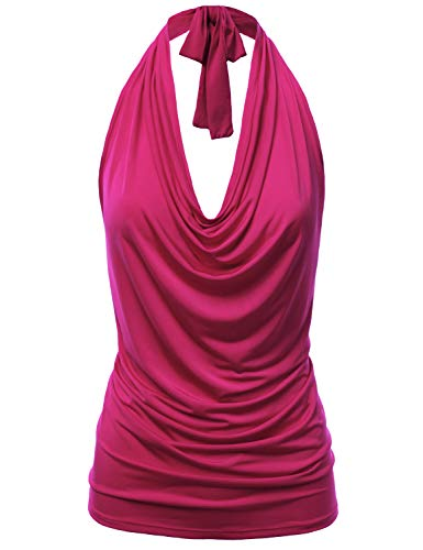 FASHIONOLIC Women's Casual Halter Neck Draped Front Sexy Backless Tank Top (S-3XL) (CLLTJ3162) Magenta -