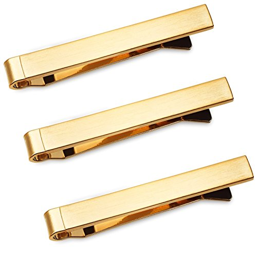 Tie Bar Set 3-Pc Tie Clips for Skinny Ties, 1.5 Inch w/ Gift Box Puentes Denver (Brushed Gold) by Puentes Denver