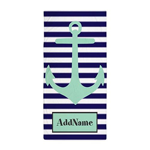 YuYui Navy Blue and Mint Monogram Anchor Microfiber Beach Towel & Bath Towel-2 Pack 50x100 cm (Monogram Beach Towel)