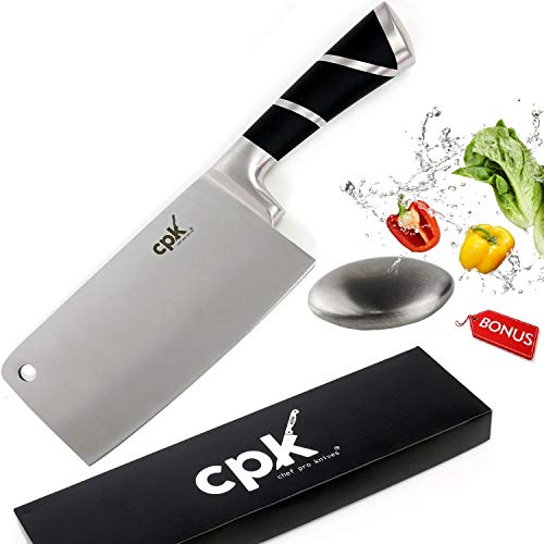 7'' Professional Cleaver Knife Stainless Steel with Ergonomic Handle/Chinese Meat Cleaver/Butcher knife/Chopper Vegetable Cutter BONUS-Metal Soap for Odor Removing all in a Gift Box for Home Kitchen by CPK Elite (Image #9)