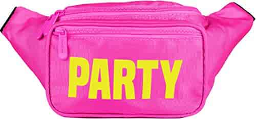 SoJourner Pink Party Fanny Pack - Neon Packs for men, women | Cute Waist Bag Fashion Belt Bags rave festival