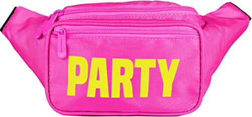 SoJourner Pink Party Fanny Pack - Neon Packs for men, women | Cute Waist Bag Fashion Belt Bags rave festival ()