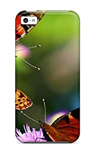 Bernook BLseLDP4874rPtLm Case Cover Skin For Iphone 5c (three Butterflys On A Round Pink Flower)