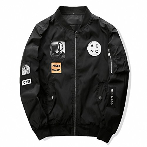 Mens Bomber Pilot Costume (New Men Bomber Jacket Hip Hop Slim Fit Pilot Bomber Jacket Coat Men Jackets Plus Size Black L)