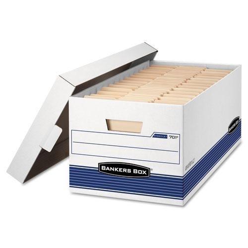 - FELLOWES Manufacturing 701 Stor/File Storage Box, Letter, Lift Lid, 12quot; x 24quot; x 10quot, White/Blue 12/Carton