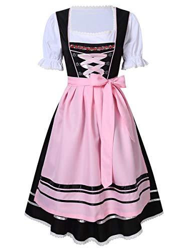 Evaliana Oktoberfest Waitress Party Dress German Bavarian Beer Wench Carnival Halloween Costume Maid Outfit ()