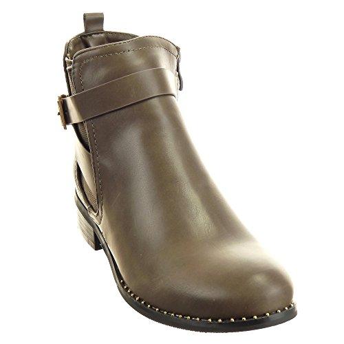 Sopily - Scarpe da Moda Stivaletti - Scarponcini Chelsea Boots donna fibbia Tacco a blocco 3 CM - Khaki