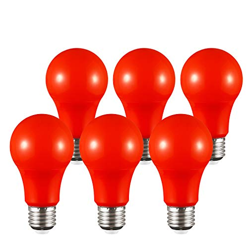 TORCHSTAR Red LED A19 Colored Light Bulb, E26 Medium Base, Dwelling Environment & Melatonin Friendly, 7W (50W Equiv.), 3 Years Warranty, 20,000hrs, Non-Dimmable, Pack of 6 ()