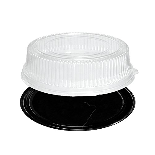 Party Essentials N716417 Soft Plastic 16-Inch Round Flat Serving/Catering Trays, Black with Clear Dome Lids, Set of 2 (Disposable Platters With Lids)