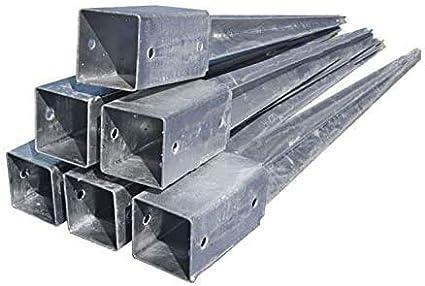 color plateado ADGO/® galvanizado, 80 x 80 x 750 mm Soporte para postes de valla