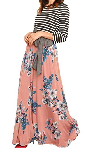 Striped Dress Patchwork Pink Boho Pockets Print Long Floral Domple Belt Women With XxOUqwOf