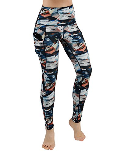 (ODODODOS High Waist Out Pocket Printed Yoga Pants Tummy Control Workout Running 4 Way Stretch Yoga Leggings,FineArt,X-Small)