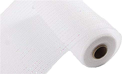 10 inch x 30 feet - Metallic Deco Poly Mesh Ribbon (White/Iridescent, 10