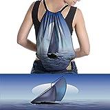 W Machine Sky Sailing Backpack Gym Bag BoatMoonriseDramatic Large Drawstring Bag SkyOcean