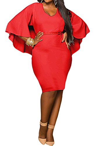 LaSuiveur Women's Batwing Sleeve V Neck Solid Plus Size Bodycon Dress L Red ()
