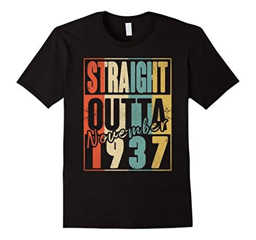 Mens Straight Outta Retro USA November 1937 80th Birthday Gift 80 Large - Usa 1937