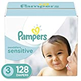 Diapers Size 3 (128 Count) - Pampers Swaddlers Sensitive Disposable Baby Diapers, Super Economy