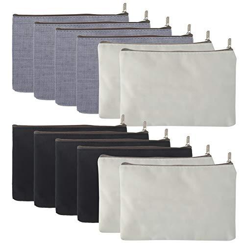 Aspire 12-Pack Canvas Zipper Bags (4 White +