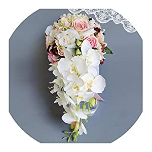 Wedding Bouquet Waterfall Pink White Wedding Flowers Bridal Bouquets Artificial Wedding Bouquets Rose S11 35