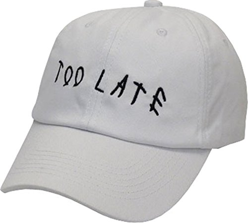 FGSS Mens Too Late Embroidery Adjustable Strapback Dad Hat Baseball Cap (Funny Caps)