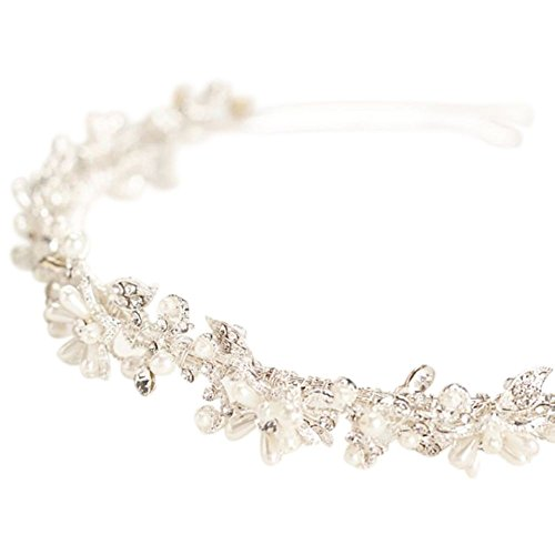 Crystal and Pearl Flower Bridal Headband Style HCT258, Silver by David's Bridal