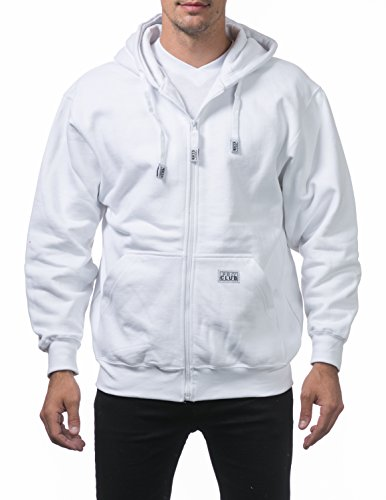 - Pro Club Men's Heavyweight Full Zip Fleece Hoodie, Large, Snow White