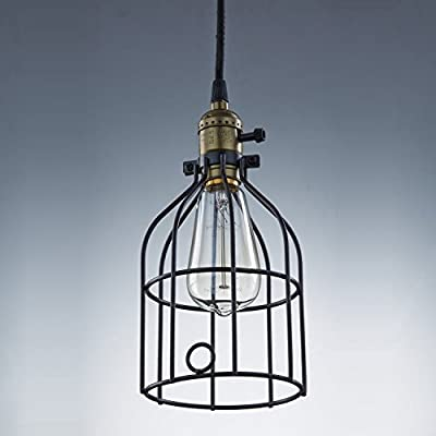 Ecopower Vintage Style Industrial Hanging Light Mini Pendant Cage Wire Lamp Guard Black