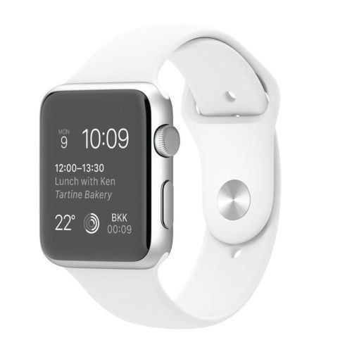 Apple Watch 38mm Silver Aluminum Case with White Sport Band