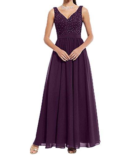 Abendkleider Festlichkleider Damen Lang V Partykleider Chiffon Traube Charmant Brautmutterkleider ausschnitt xqwP4xOT