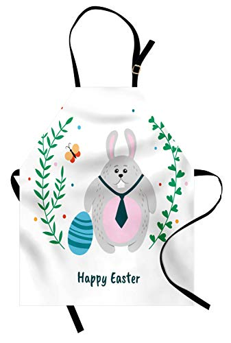 Ambesonne Easter Bunny Apron, Rabbit Tie Happy Easter Typography Plain Background, Unisex Kitchen Bib Apron with Adjustable Neck for Cooking Baking Gardening, Baby Pink Sea Green Pale Grey ()
