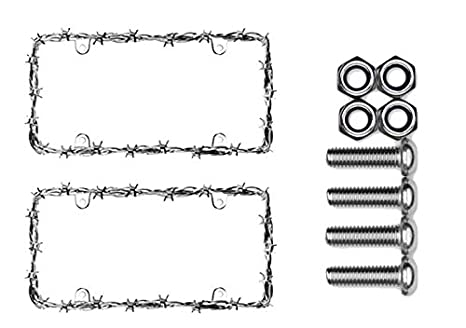 Cruiser Accessories 22230 Chrome Barbed Wire II Frame Bundle with Metric  Fasteners for Most Import Cars & Trucks (3 Items)