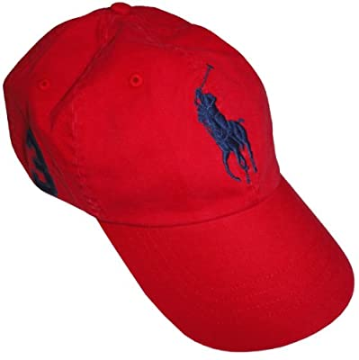 Polo by Ralph Lauren Men's Hat Ball Cap Red with Big Navy Pony