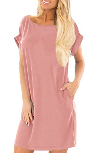 Spadehill Womens Comfy Solid Color Round Neck Loose Fit Summer Casual Short Sleeve Tunic Dress with Pocket Light Pink XL -
