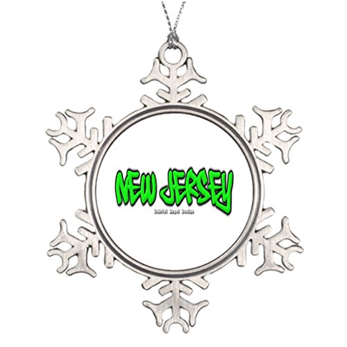 Huky Personalised Christmas Tree Decoration New Jersey Graffiti Monogrammed Snowflake -