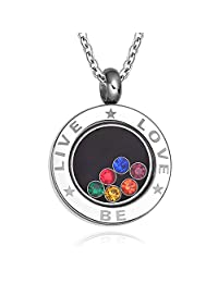 LGBT Gay Pride Jewelry Stainless Steel Floating Rainbow Gems Locket Pendant Necklace
