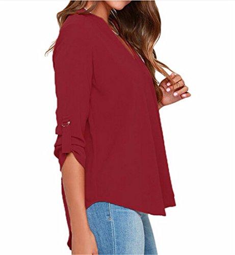 En Vin Rouge Col QIYUN V Blouse T Plus Profond Ete Shirt De Mince Mousseline Femmes Z Tops Nouvelles La Taille Chemises Soie y4RC1WqIRc