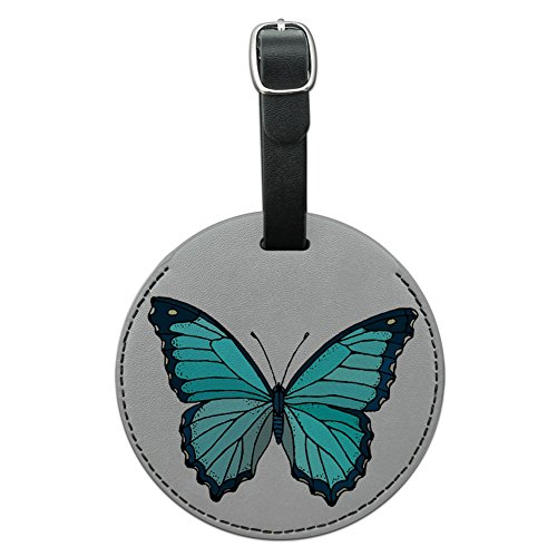 - Graphics & More Butterfly Round Leather Luggage Id Tag Suitcase Carry-on, Black