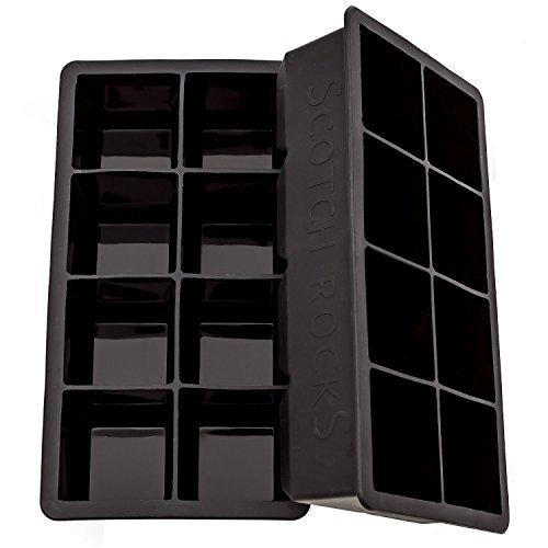 UPC 736983043726, Large Black Ice Cube Tray, Set of 2 Silicone Ice Trays By Scotch Rocks